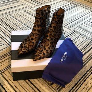 AQUAZZURA Silk Leopard Booties Size 36.5 BNIB